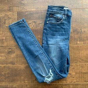 Garage High-Rise Distressed Skinny Blue Jeans, 3